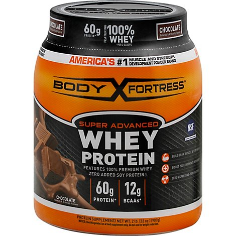 Body Fortress Whey Protein Super Advanced Chocolate - 32 Oz