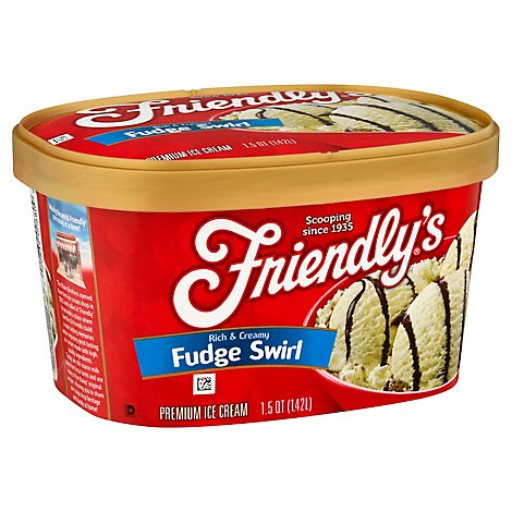 Friendlys Ice Cream Rich & Creamy Premium Fudge Swirl - 1.5 Quart