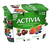 Activia Probiotic Yogurt Lowfat Black Cherry & Mixed Berry Variety Pack - 12-4 Oz