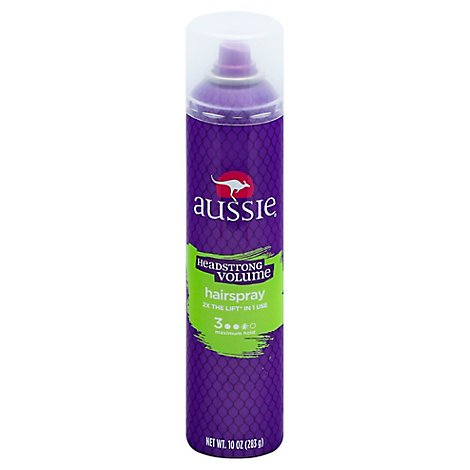 Aussie Headstrong Volume Hairspray Maximum Hold With Bamboo & Kakadu Plum - 10 Oz