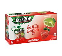Tree Top Apple Sauce Strawberry Pouches - 12-3.2 Oz