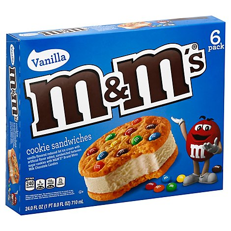 M&Ms Ice Cream Cookie Vanilla Flavored Ice Cream 6 Pack - 24 Fl. Oz.