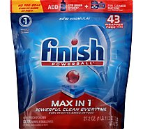 Finish Dishwasher Detergent Powerball Max in 1 Wrap Free Tablets Fresh Scent 46 Count - 30.1 Oz