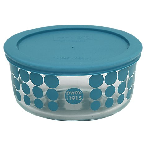 Pyrex Storage Bowl Glass With Lid 4 Cup Turquoise Dots - Each