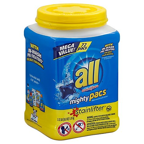 all Laundry Detergent Stainlifters Mighty Pacs Jar - 72 Count
