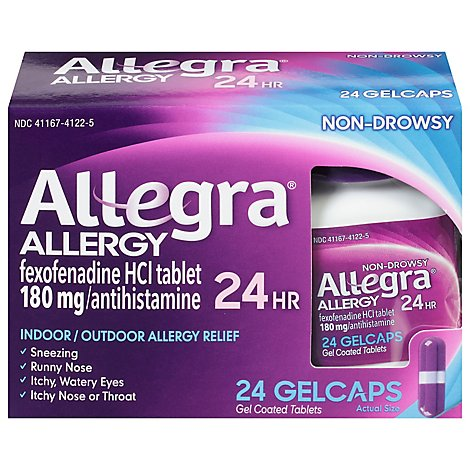 Allegra Allergy Antihistamine Gelcaps 12 Hour 60mg Non-Drowsy - 24 Count