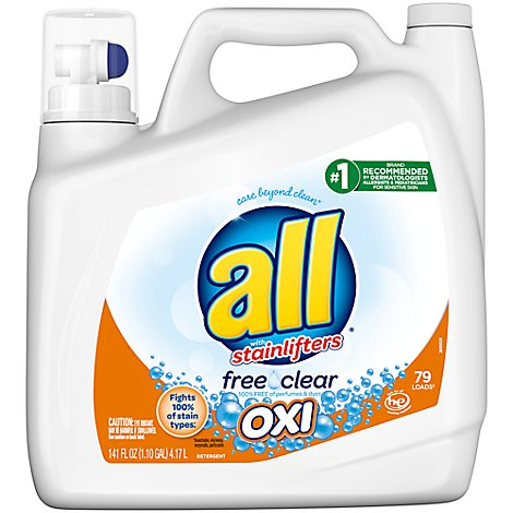 all Laundry Detergent Liquid With OXI Stain Removers Free Clear 79 Loads - 141 Fl. Oz.
