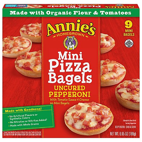 Annies Homegrown Pizza Bagels Uncured Pepperoni Mini 9 Count - 6.65 Oz
