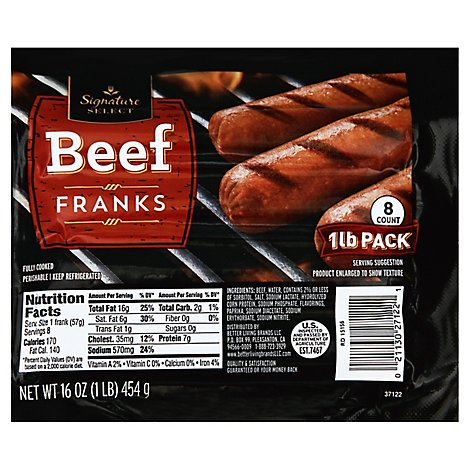 Signature SELECT Franks Beef 8 Count - 16 Oz