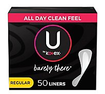 U by Kotex Barely There Liners Daily Wrapped Thin - 50 Count