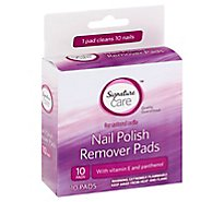 Signature Care Nail Polish Remover Pads With Vitamin E & Panthenol - 10 Count