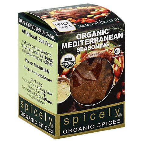 Spicely Organic Spices Seasoning Mediterranean Ecobox - 0.45 Oz