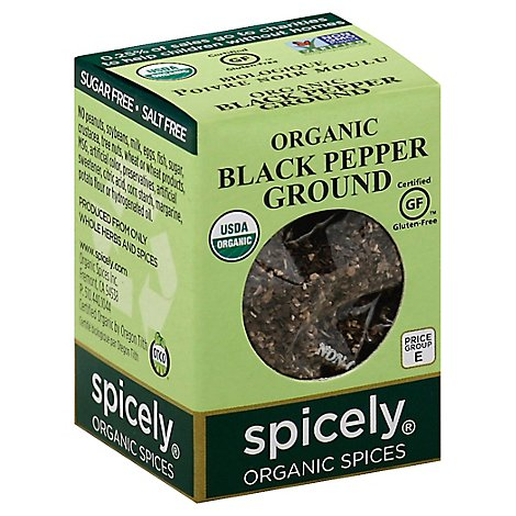 Spicely Organic Spices Black Pepper Ground Ecobox - 0.45 Oz