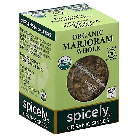 Spicely Organic Spices Marjoram Whole Ecobox - 0.1 Oz
