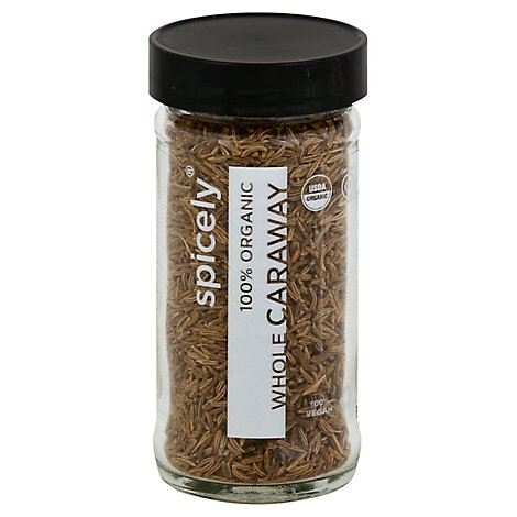 Spicely Organic Spices Caraway Whole Glass Jar - 1.6 Oz