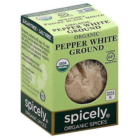 Spicely Organic Spices White Pepper Ground Ecobox - 0.45 Oz