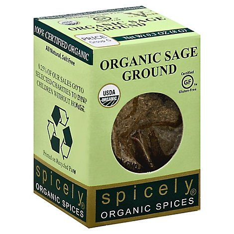 Spicely Organic Spices Sage Ground Ecobox - 0.3 Oz