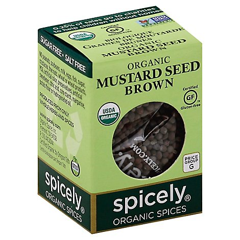 Spicely Organic Spices Mustard Seed Brown Ecobox - 0.6 Oz