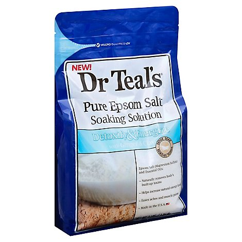 Dr Teals Soaking Solution Epsom Salt Pure Detoxify & Energize With Ginger & Clay - 3 Lb