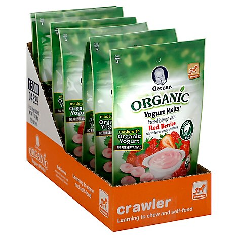 Gerber Yogurt Melts Baby Food Crawler Organic Red Berries - 1 Oz