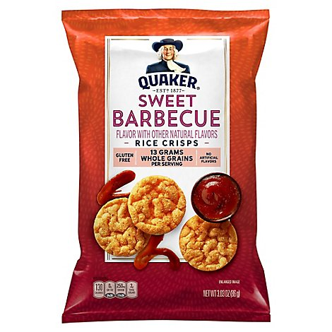 Quaker Popped Rice Crisps Gluten Free Sweet Barbecue - 3.03 Oz