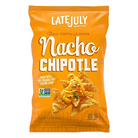 Late July Snacks Tortilla Chips Clasico Yellow Corn Nacho Chipotle - 5.5 Oz