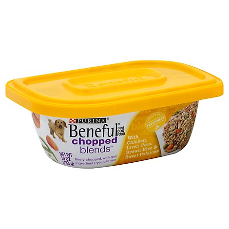 Beneful Dog Food Wet Chopped Blends Chicken Liver Peas Brown Rice & Sweet Potatoes - 10 Oz