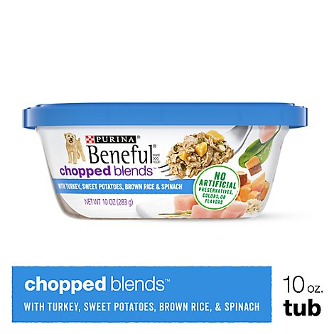 Beneful Dog Food Wet Chopped Blends Turkey Sweet Potatoes Brown Rice & Spinach - 10 Oz