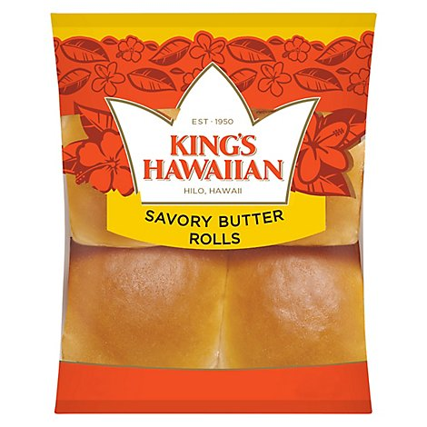 Kings Hawaiian Rolls Savory Butter 4 Count - 4.4 Oz