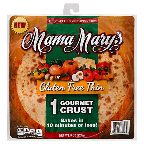 Mama Marys Pizza Crust Gourmet Gluten Free Thin Bag 2 Count - 8 Oz