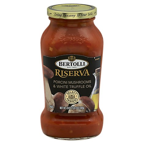 BERTOLLI Pasta Sauce Riserva Porcini Mushrooms & White Truffle Oil Jar - 24 Oz