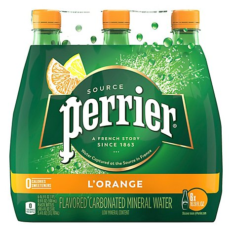 Perrier Mineral Water Sparkling L Orange - 6-16.9 Fl. Oz.