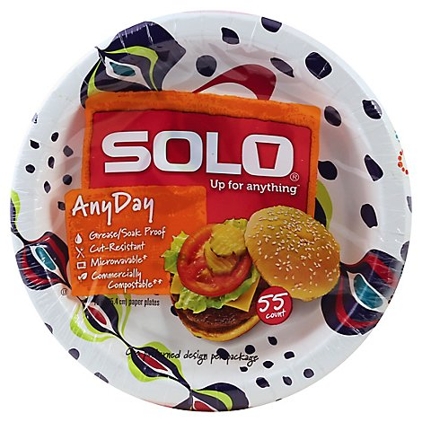 SOLO Plates Paper AnyDay 10 Inch Bag - 55 Count