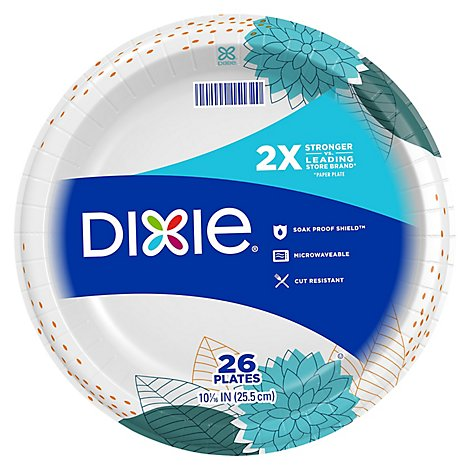 Dixie Everyday Paper Plates Printed 10 1/16 Inch - 26 Count