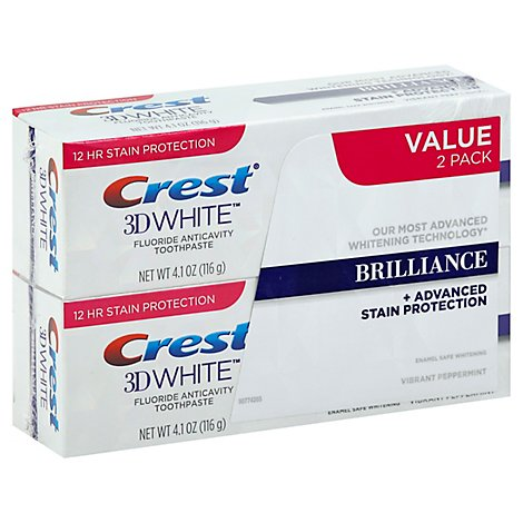 Crest 3D White Toothpaste Fluoride Anticavity Brilliance Vibrant Peppermint Value Pack - 2-4.1 Oz