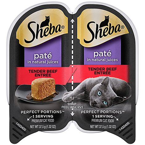 SHEBA Perfect Portions Cat Food Pate Premium Tender Beef Entree - 2-1.3 Oz