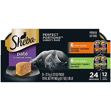 Sheba Perfect Portions Cat Food Premium Pate Chicken/Turkey Entree Multipack Box - 24-1.32 Oz