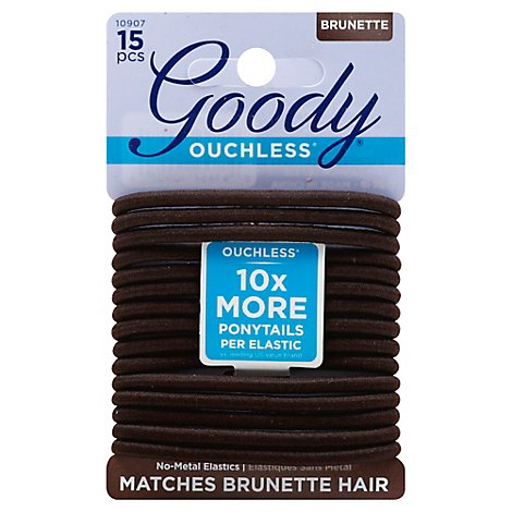 Goody Elastics Ouchless Thick 4mm Brown Brunette - 15 Count