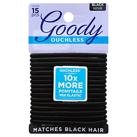 Goody Elastics Ouchless Thick 4mm Black - 15 Count