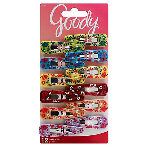 Goody Snap Clips Girls Floral Pattern - 12 Count