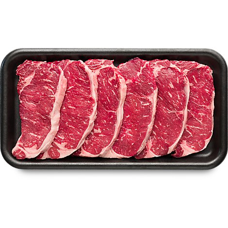 Meat Counter Beef USDA Choice Steak Top Loin New York Strip Boneless Thin Value Pack - 3.50 LB