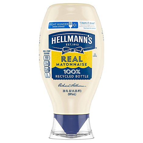 Hellmanns Mayonnaise Real Squeeze Bottle - 20 Oz
