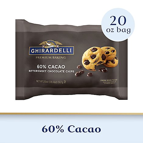 Ghirardelli Chocolate Baking Chips Premium Bittersweet Chocolate 60% Cacao - 20 Oz