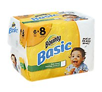 Bounty Basic Paper Towels Full Sheet Big Rolls 1-Ply White - 6 Roll