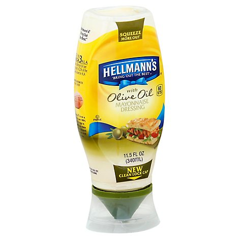 Hellmanns Mayonnaise Dressing Olive Oil Squeeze Bottle - 11.5 Oz