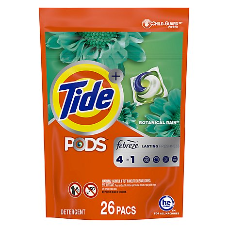 Tide + PODS Detergent Pacs 4In1 Febreze Botanical Rain Pouch - 26 Count
