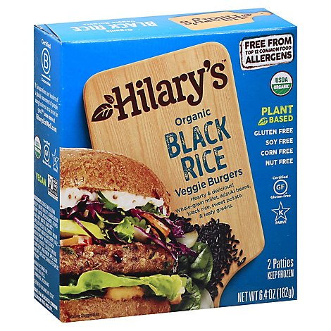 Hilarys Eat Well Black Rice Burger Patties - 6.4 Oz