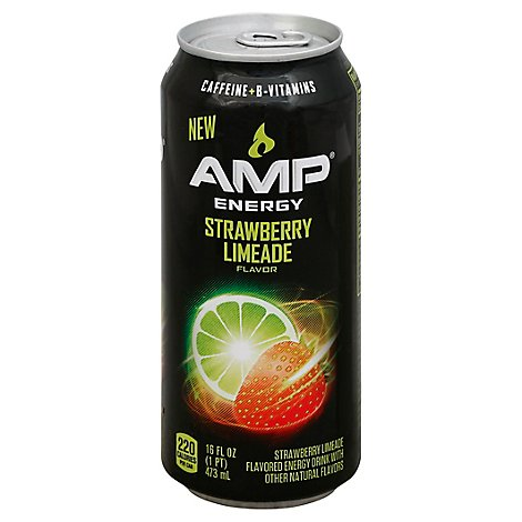 AMP Energy Drink Strawberry Limeade Flavor - 16 Fl. Oz.