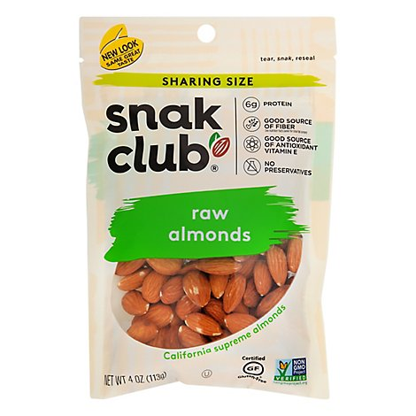 SnakClub Super Value Almonds Raw - 4 Oz
