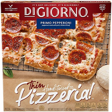 DIGIORNO Pizzeria! Pizza Thin Primo Pepperoni Frozen - 17.2 Oz